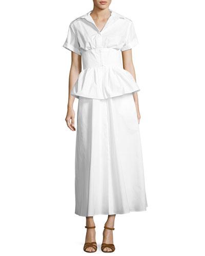Short-Sleeve Poplin Shirtdress, White