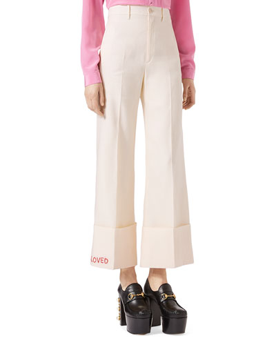 Cady Crepe Cuffed Pants, White