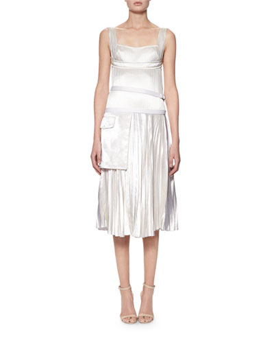 Sleeveless Bustier Plissé Midi Dress, Off White
