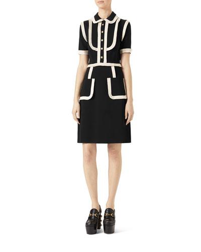 Short-Sleeve Stretch-Jersey Shirtdress, Black