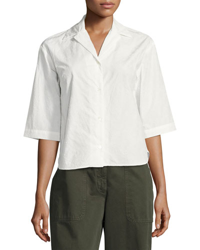 Cala Flocked Camp Shirt, Neutral