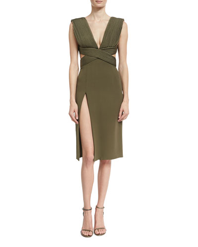 Piped-Bodice V-Neck Dress, Olive