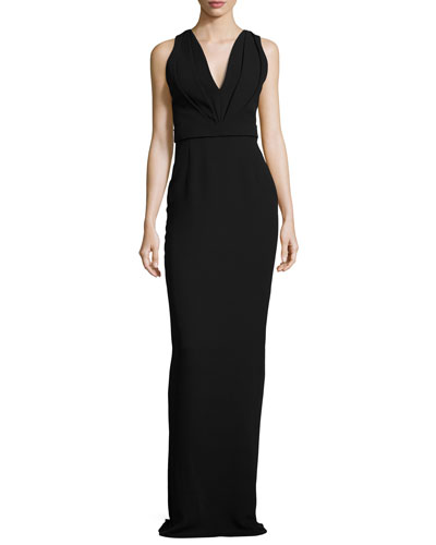 V-Neck Georgette Column Gown