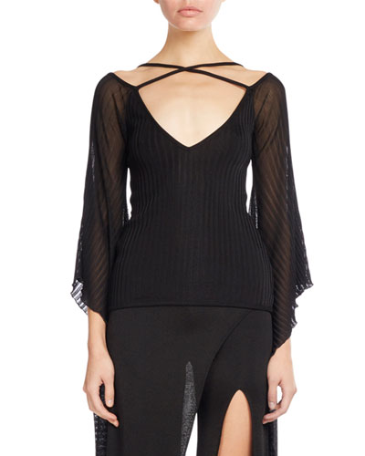 Knit Top w/Sheer Batwing Sleeves, Black