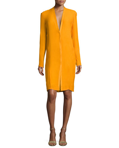 V-Neck Boyfriend Cardigan Dress, Amber