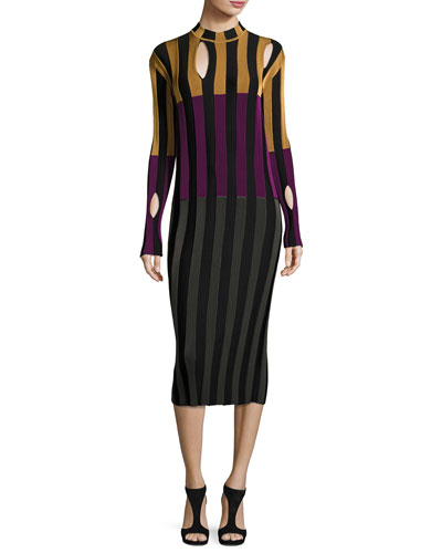 Cutout Striped Mock-Neck Dress, Multi