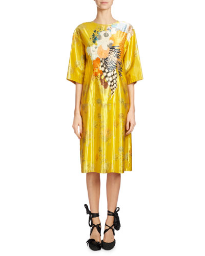 Denali Floral-Print Satin Dress, Yellow