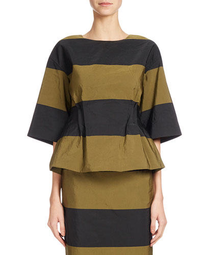 Conder Striped Taffeta Top, Brown
