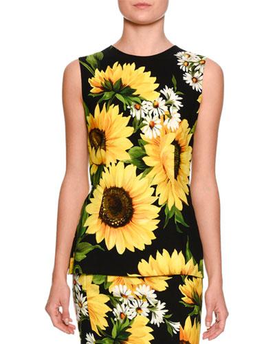 Sleeveless Sunflower-Print Cady Top, Black/White