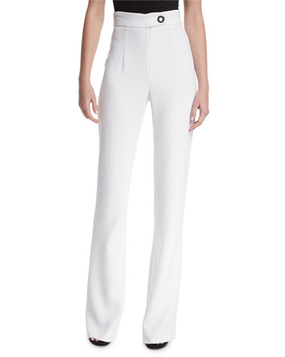 High-Waist Snap-Detail Wide-Leg Pants, White