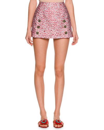 Leopard-Print Fil Coupe Mini Skirt, Pink/Brown