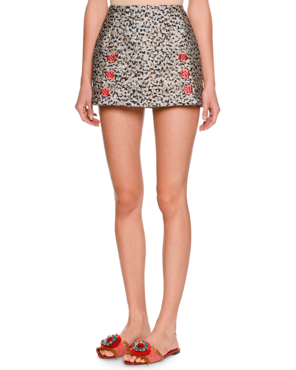 Leopard-Print Fil Coupe Mini Skirt, Black/White