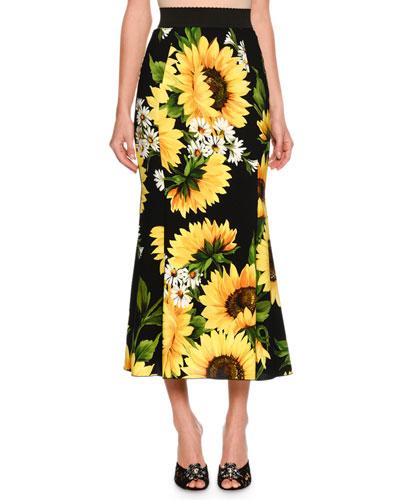 Flared Sunflower-Print Midi Skirt, Black/Yellow