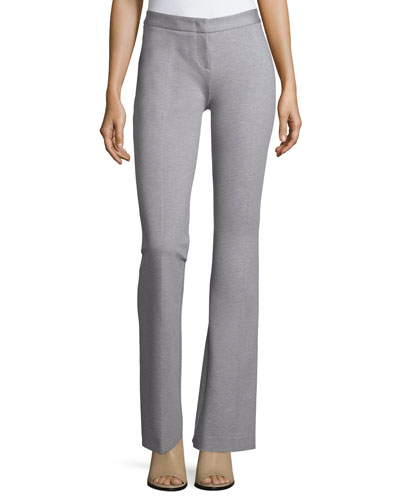 Flat-Front Flared Pants, Heather Gray
