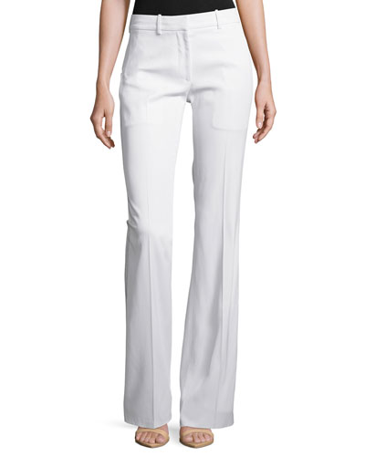 Stretch Flare-Leg Pants, White