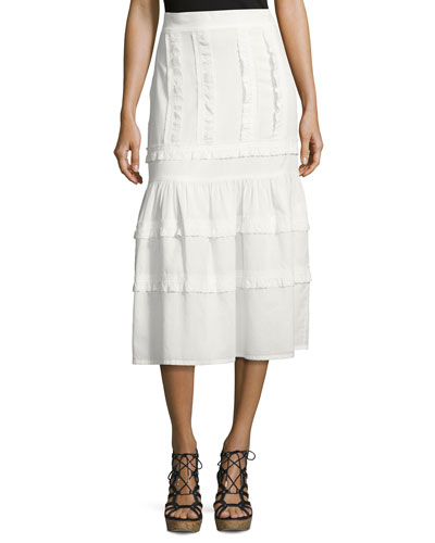 Ruffled Cotton Midi Skirt, White