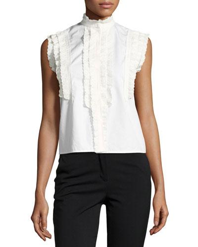 Sleeveless Ruffled Cotton Blouse, White
