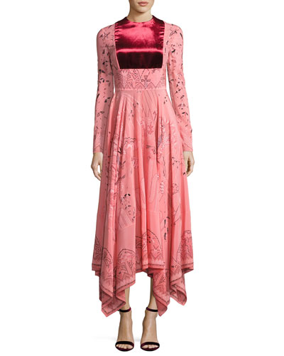 Long-Sleeve Flared-Skirt Dress, Pink/Multi