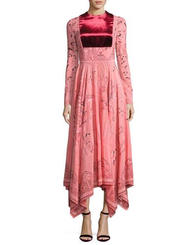 Long-Sleeve Flared-Skirt Dress, Pink/Multi