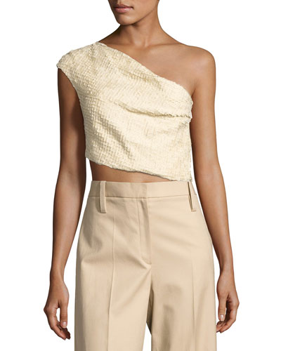 Arno One-Shoulder Crop Top, Beige