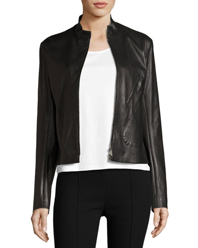 Tripton Leather Zip-Front Jacket, Black