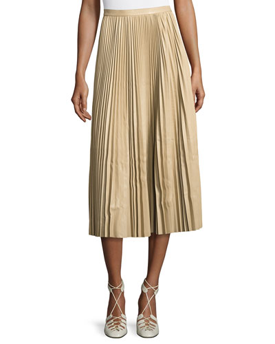 Solly Pleated Leather Midi Skirt, Khaki