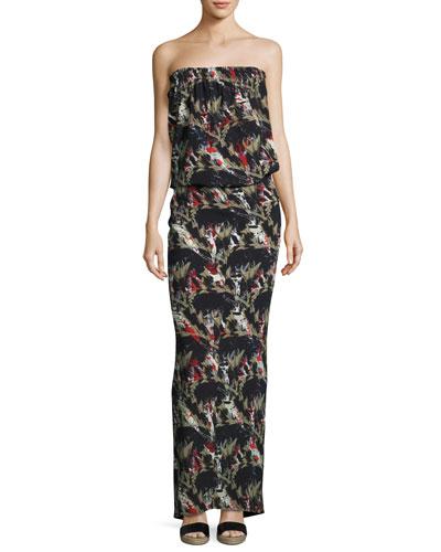 Strapless Flora-Print Maxi Dress, Black Pattern