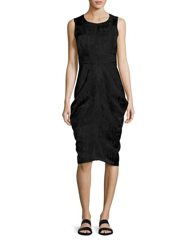 Sleeveless Draped Jacquard Dress, Black