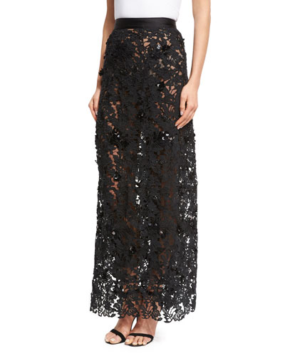 Cana Lace High-Waist Maxi Skirt, Black