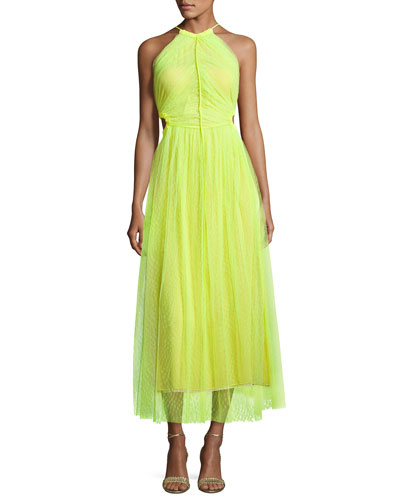 Twisted-Back Shadow Floral Midi Dress, Neon Yellow