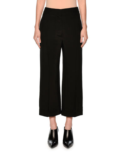High-Rise Cropped Wide-Leg Jeans in Black