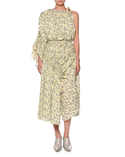 One-Shoulder Floral-Print Midi Dress, Light Yellow