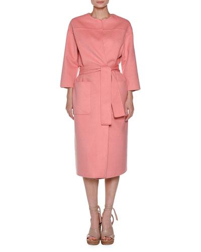 Bracelet-Sleeve Cashmere Top Coat, Pink