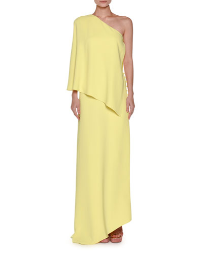 One-Shoulder Layered Crepe Gown, Yellow