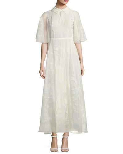 Half-Sleeve Silk Lace Dress, Ivory