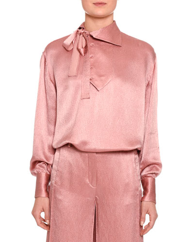 Tie-Neck Long-Sleeve Blouse, Blush