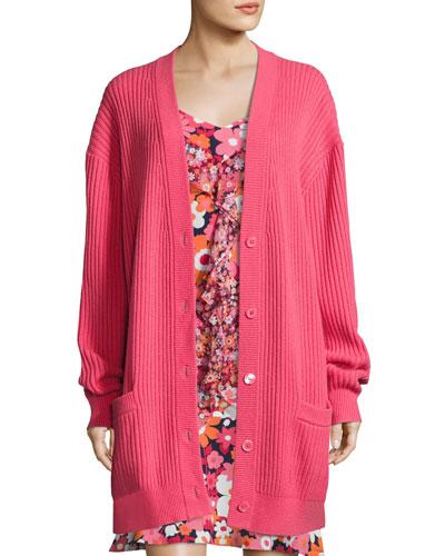 Oversized Cashmere Cardigan, Pink