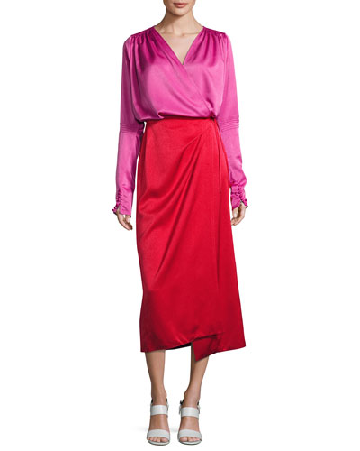 Satin Bicolor Wrap Midi Dress, Red/Pink