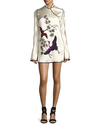 Embroidered Satin Mandarin-Collar Dress, White