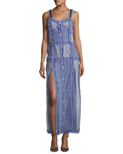 Patchwork Camisole Maxi Dress, Blue