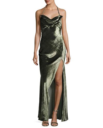 Velvet Halter Cowl-Neck Gown, Olive