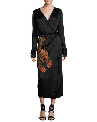 Lobster-Beaded Satin Midi Wrap Dress, Black