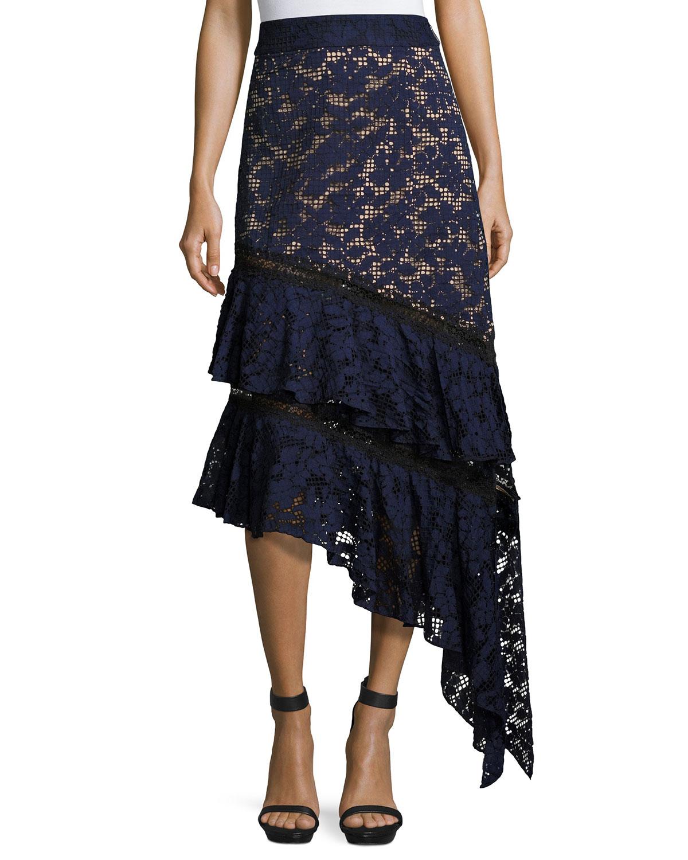 Asymmetric Ruffled Lace Skirt, Blue