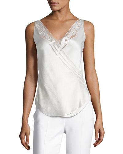 Sleeveless V-Neck Silk Top, White