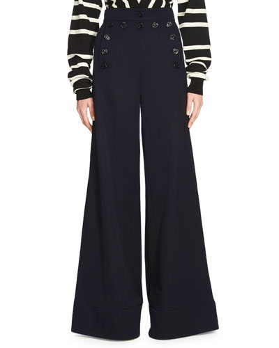 Wide-Leg High-Waist Pants, Blue