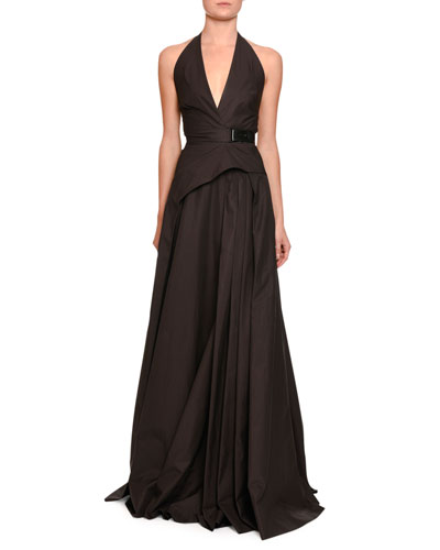 Sateen Halter Gown w/Belt, Brown/black