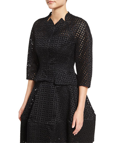 3/4-Sleeve Duchess Eyelet Jacket, Black
