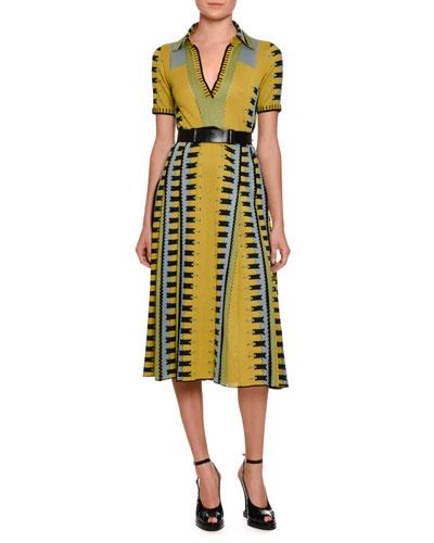 Knit Intarsia Polo Dress, Chartreuse