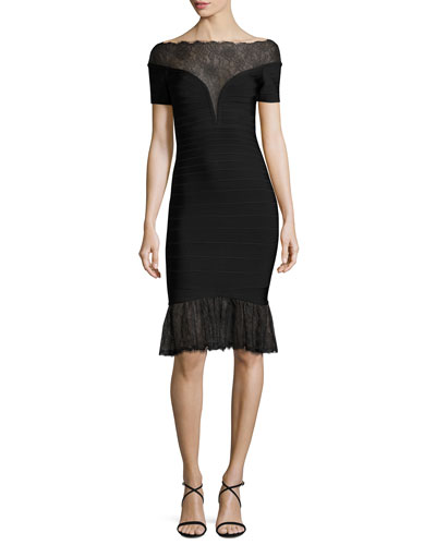 Short-Sleeve Lace-Trim Bandage Dress, Black