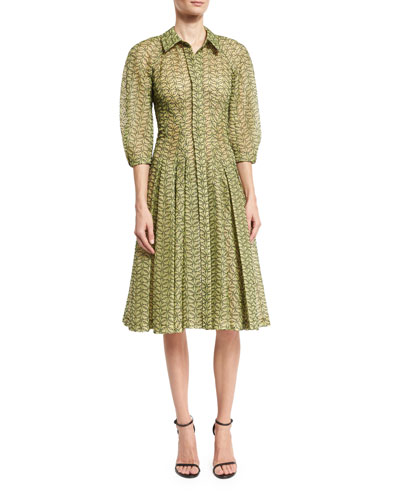 Puffed 3/4-Sleeve Eyelet Shirtdress, Green